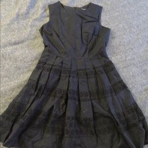 Anne Taylor Petite Black Babydoll dress with lace